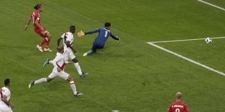 Yussuf Poulsen a inscrit le but de la victoire du Danemark face au Pérou, le 16 juin 2018.