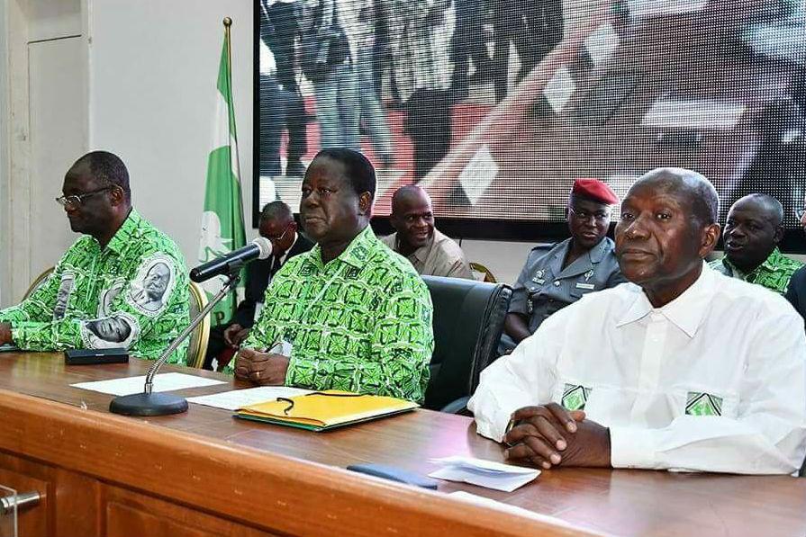 Maurice Kakou Guikahué, Henri Konan Bédié et Daniel Kablan Duncan lors du bureau politique du PDCI-RDA, le 16 juin 2018.