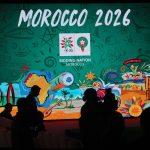 Logo du Maroc lors de la conférence de presse pour promouoir la candidature du Maroc pour la coupe du Monde de 2026.