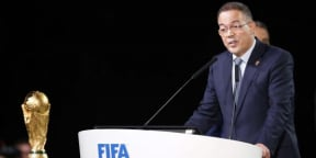 Le président marocain de la fédération de football, Fouzi Lekjaa, lors du congrès pour la désignation du pays hôte de la Coupe du monde 2026, le 13 juin 2018 à Moscou.