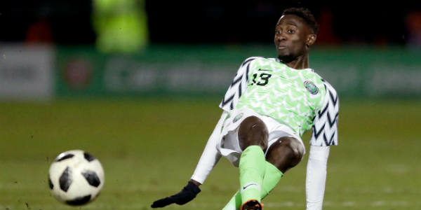 Le Nigérian Wilfred Ndidi lors d'un match amical face à la Serbie, en préparation au Mondial 2018 en Russie, le 27 mars à Londres.