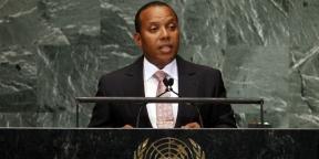 Patrice Trovoada, Premier ministre de Sao Tomé-et-Principe, en septembre 2012 à la tribune de l'ONU.