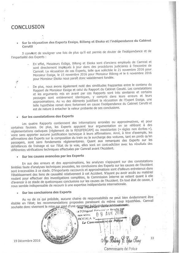 Extrait d'une note de Camrail adressée au tribunal le 19 décembre 2016.