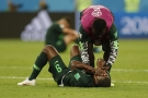 Le joueur nigérian Odion Ighalo effrondré après l'élimination du Nigeria face à l'Argentine, le 26 juin 2018.