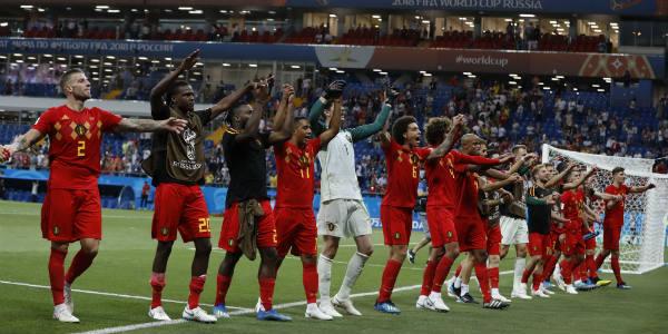 L'équipe de Belgique célébrant sa victoire sur le Japon lors du Mondial 2018 en Russie, le 2 juillet.