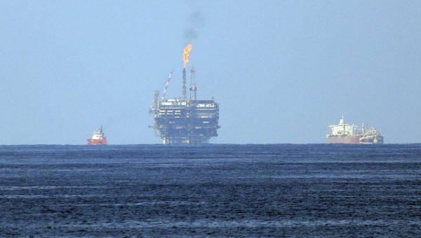 Le champ gazier de Zohr au large de la côte libyenne, en mer Méditerranée, le mardi 1er août 2015. La compagnie italienne d'énergie Eni SpA a annoncé dimanche 30 août 2015 qu'elle avait découvert un champ de gaz naturel