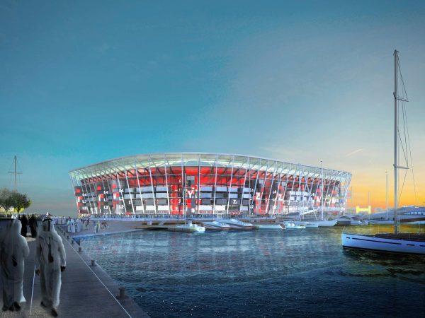 La structure du stade Ras Abou Aboud est presque intégralement constituée de containers, qui doivent le rendre aisément modulable.