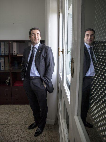 Tunis, le 6 février 2015, Selim Azzabi, Premier Conseiller en charge du Secrétariat Général de la Présidence, dans son bureau du Palais de Carthage