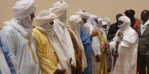 Le président malien Ibrahim Boubacar Keïta, candidat à sa succession au scrutin du 29 juillet, lors de son arrivée à Kidal, le 19 juillet 2018.