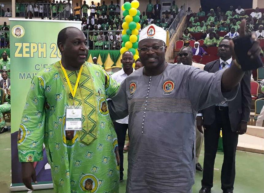 Zéphirin Diabré, président de l'UPC (g.) et Eddie Komboïgo, président du CDP, lors du congrès de l'UPC le 22 juillet 2018 à Ouagadougou.