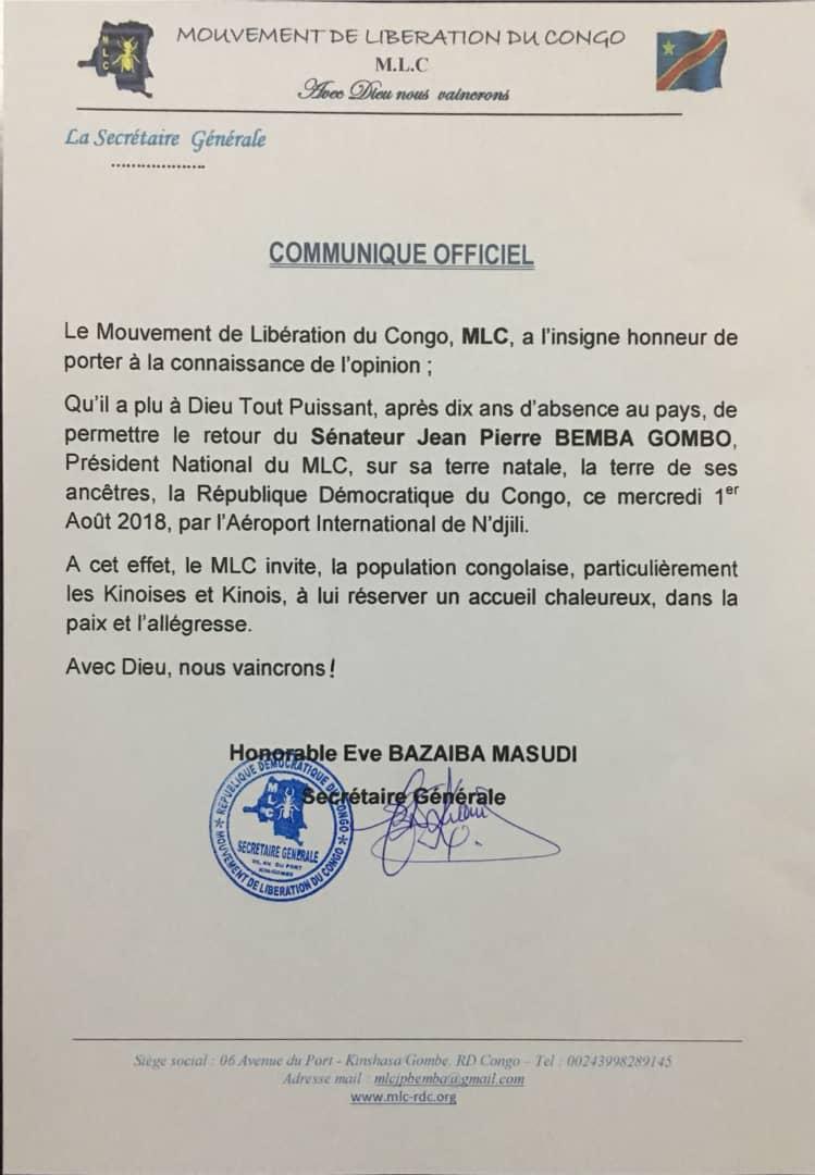 Communiqué du Mouvement de libération du Congo annonçant le retour de Jean-Pierre Bemba à Kinshasa le 1er août prochain.