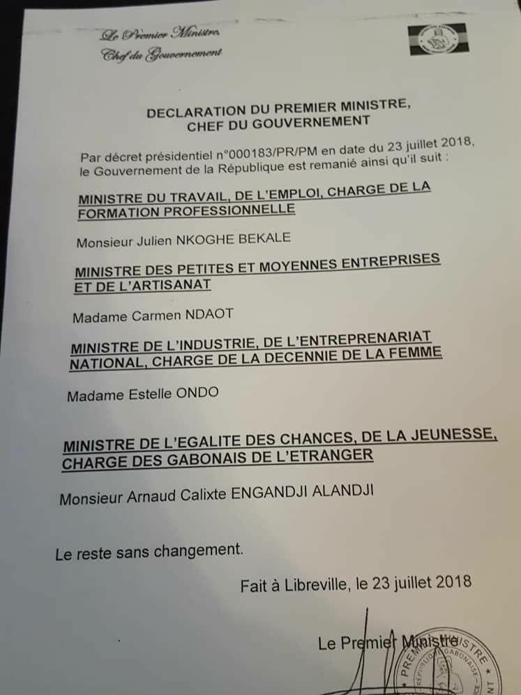 Lettre du Premier ministre du Gabon annonçant le remaniement sur décret présidentiel (23 juillet 2018).