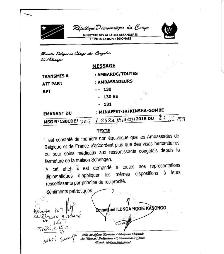Note du ministère congolais des Affaires étranères.