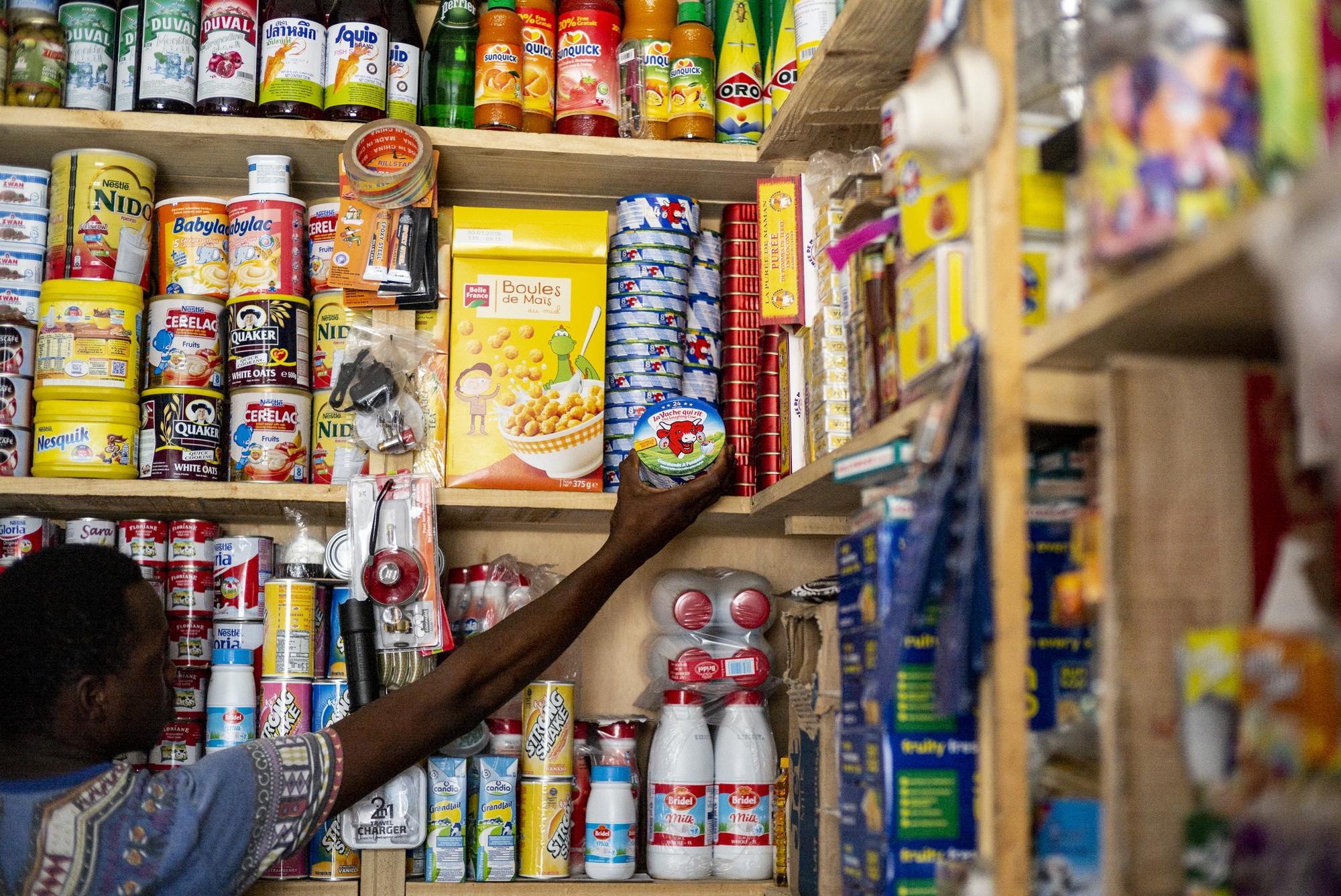 Fromage de la marque Vache qui Rit dans une boutique de quartier à Dakar 2018
