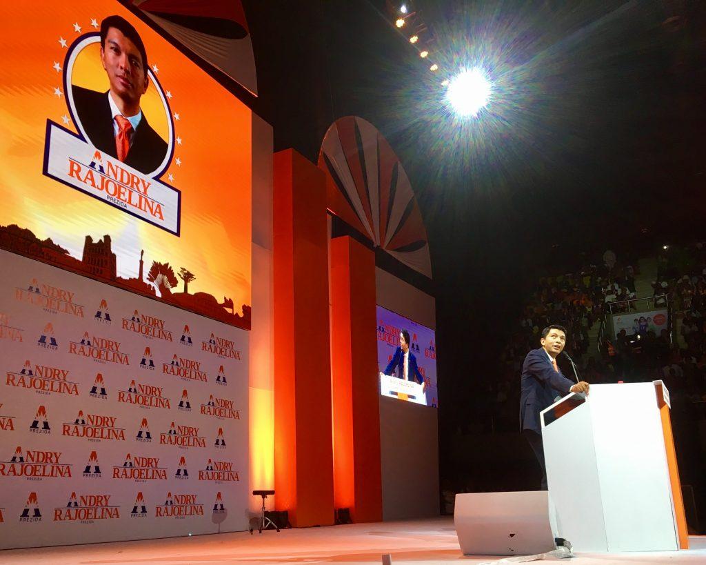 Le leader du Mapar, Andry Rajoelina, lors de l'annonce de sa candidature à la présidentielle de 2018.