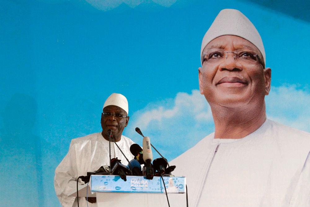 Ibrahim Boubacar Keïta, lors d'un discours à son QG de campagne, le 3 août 2018.