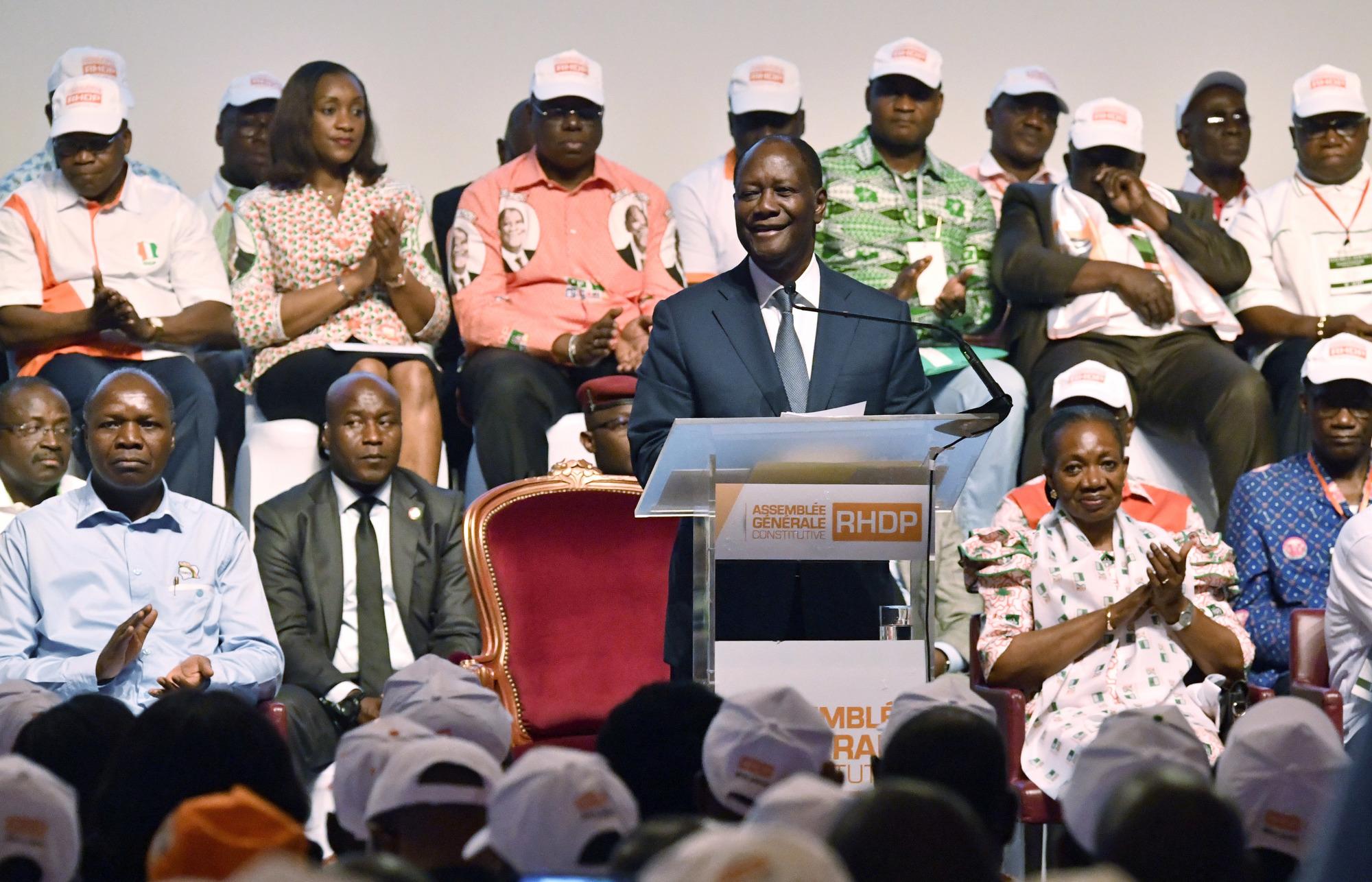 Le président ivoirien lors d'un meeting du RHDP, le 16 juillet 2018 à Abidjan.