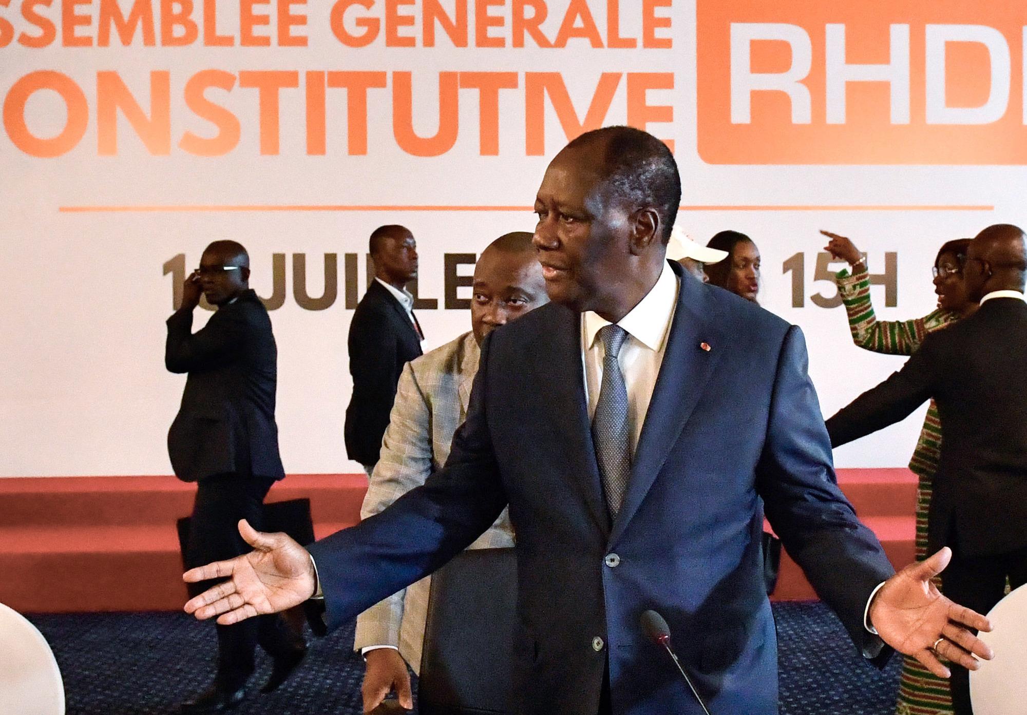 ADO a été élu président du RHDP le 16juillet, lors du lancement du parti unifié.