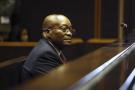 L'ancien président sud-africain Jacob Zuma sur le banc des accusés à la Haute Cour de Pietermaritzburg, en Afrique du Sud, le vendredi 27 juillet 2018.