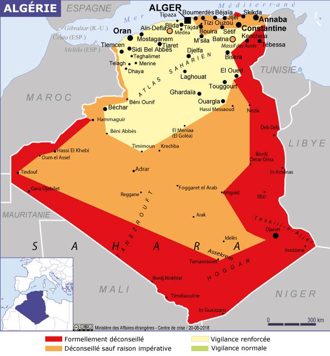 Depuis août 2018, le reste de l'Algérie reste en vigilance renforcée.