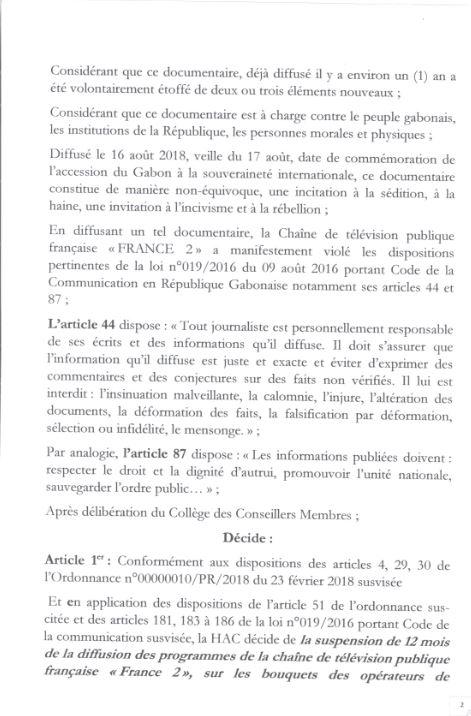 Décision de la HAC suspendant France 2.