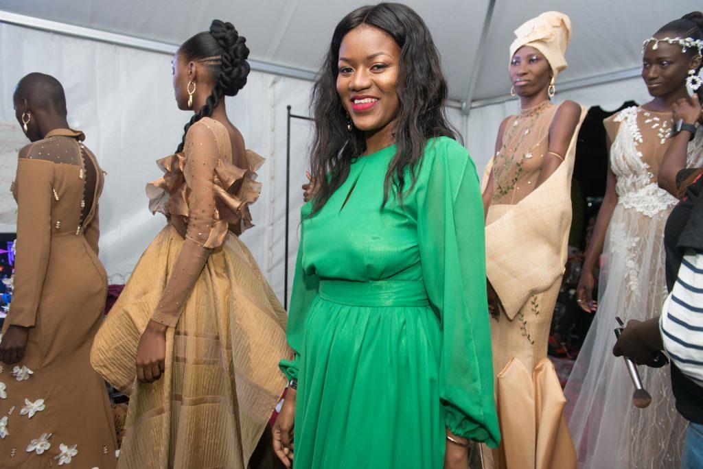 Adriana Talansi et ses modèles à la Fashion Week de Dakar, au Sénégal, en juin 2018
