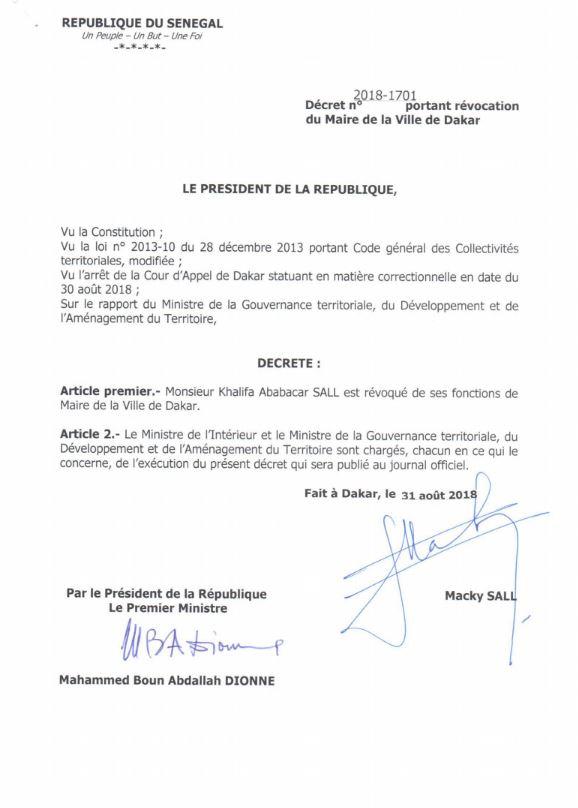 Le décret présidentiel portant révocation de Khalifa Sall (31 août 2018).