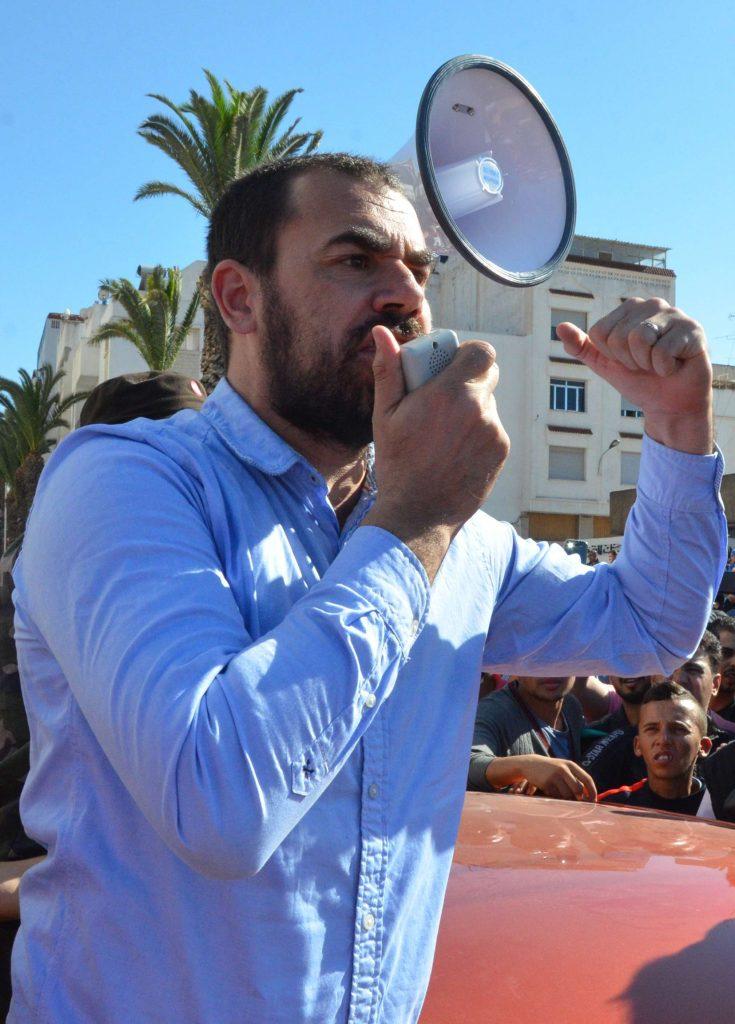 L'activiste marocain Nasser Zefzafi lors d'une manifestation à El Hoceïma, dans le nord du Rif, au Maroc, le jeudi 18 mai 2017.