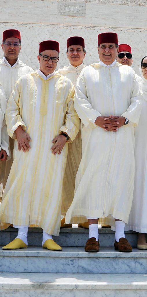 Avec Aziz Akhannouch (àdr.), lors de la commémoration de la mortde MohammedV, le 26mai.