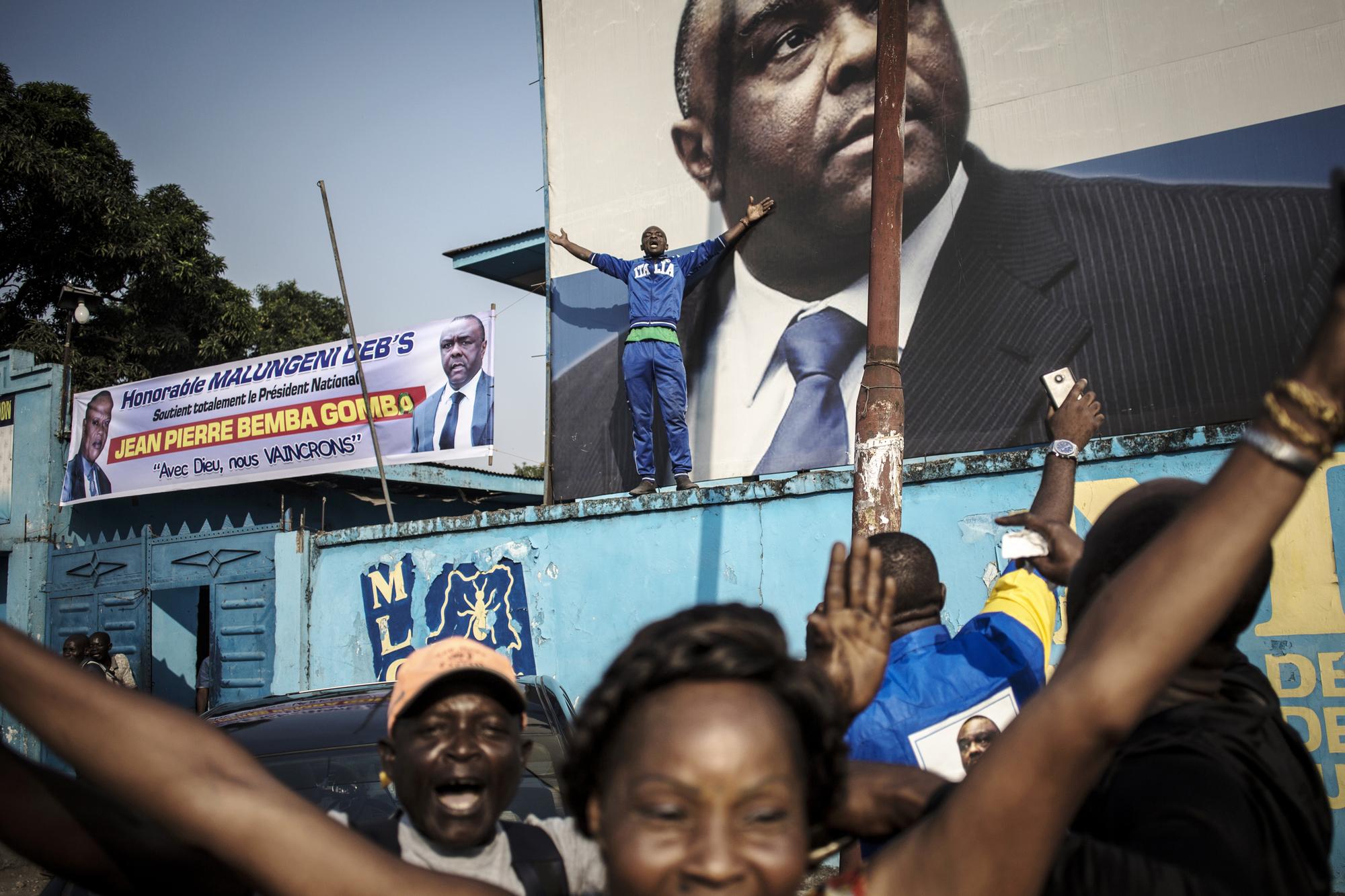 Au quartier général du MLC, à Kinshasa, le jour de l'acquittement de l'ancien chef de guerre par la CPI, le 8juin.