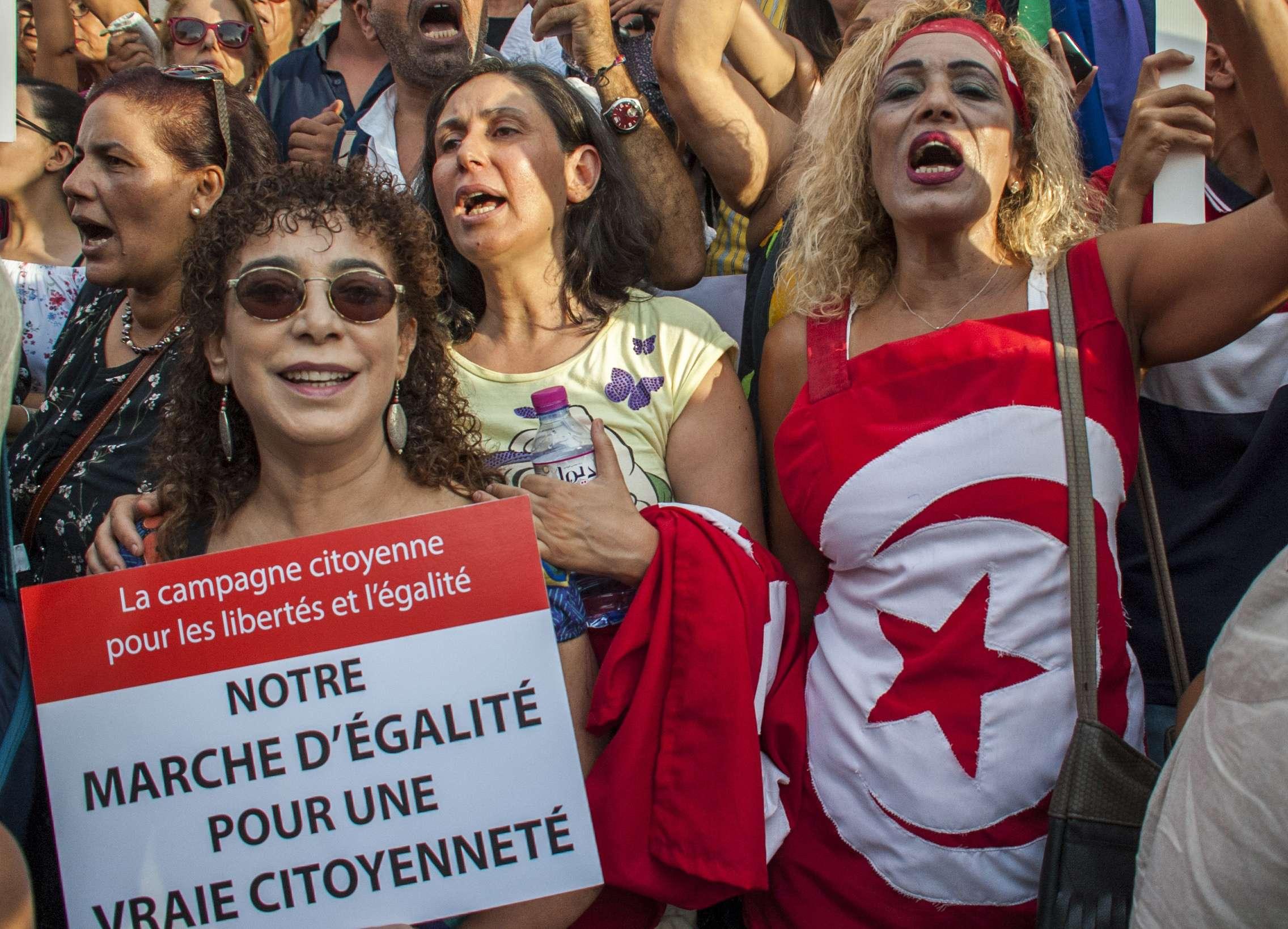 Des manifestantes tunisiennes, le 13 août 2018 à Tunis.