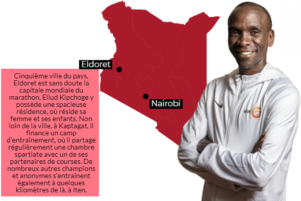 Eliud Kipchoge vit aujourd'hui une partie de l'année à Eldoret, le berceau du marathon.