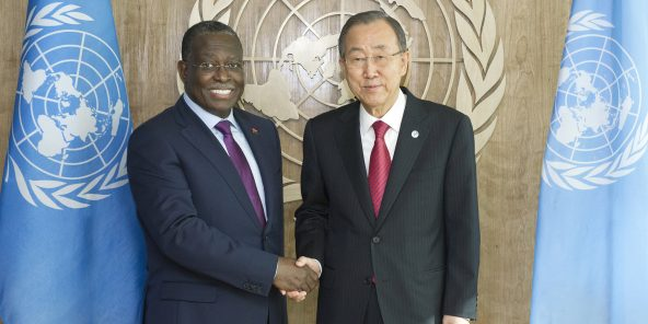 Secretary-General Ban Ki-moon (right) meets with H.E. Mr. Manuel Domingos Vicente, Vice President of Angola.
