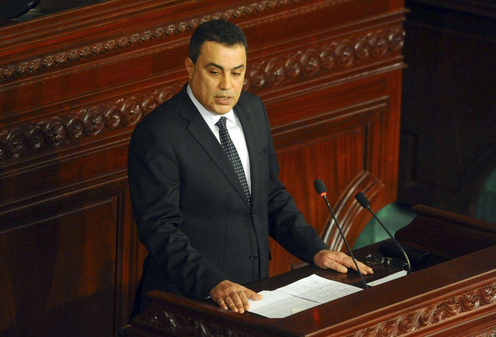 Mehdi Jomâa, alors Premier ministre, devant l'Assemblée à Tunis, en janvier 2014.