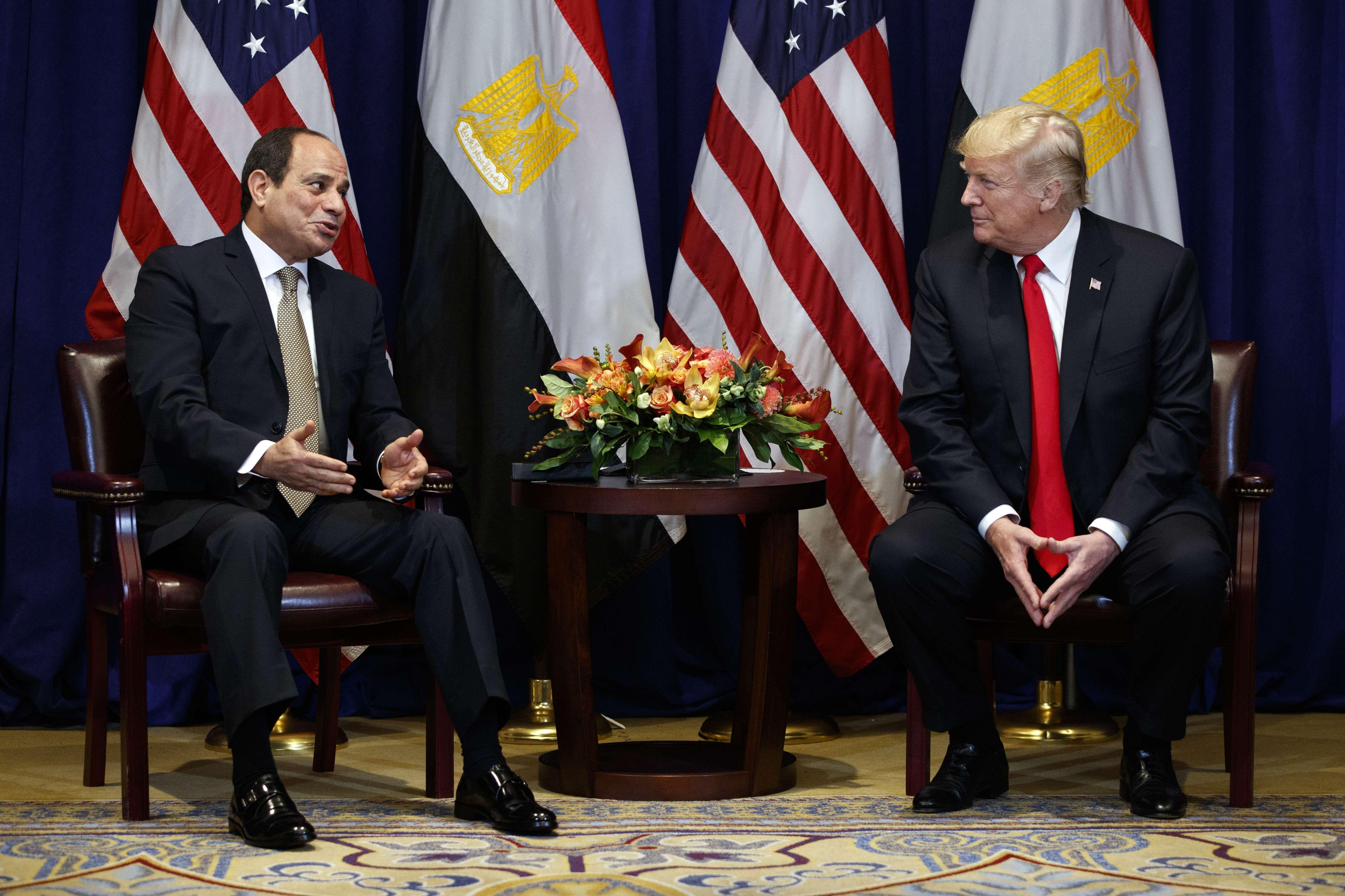 Le président égyptien et son homologue américain, à New York le 24 septembre 2018, en marge de l'assemblée générale de l'ONU.