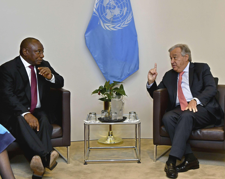 Cyril Ramaphosa et Antonio Guterres, au siège des nations unies le 25 septembre 2018.