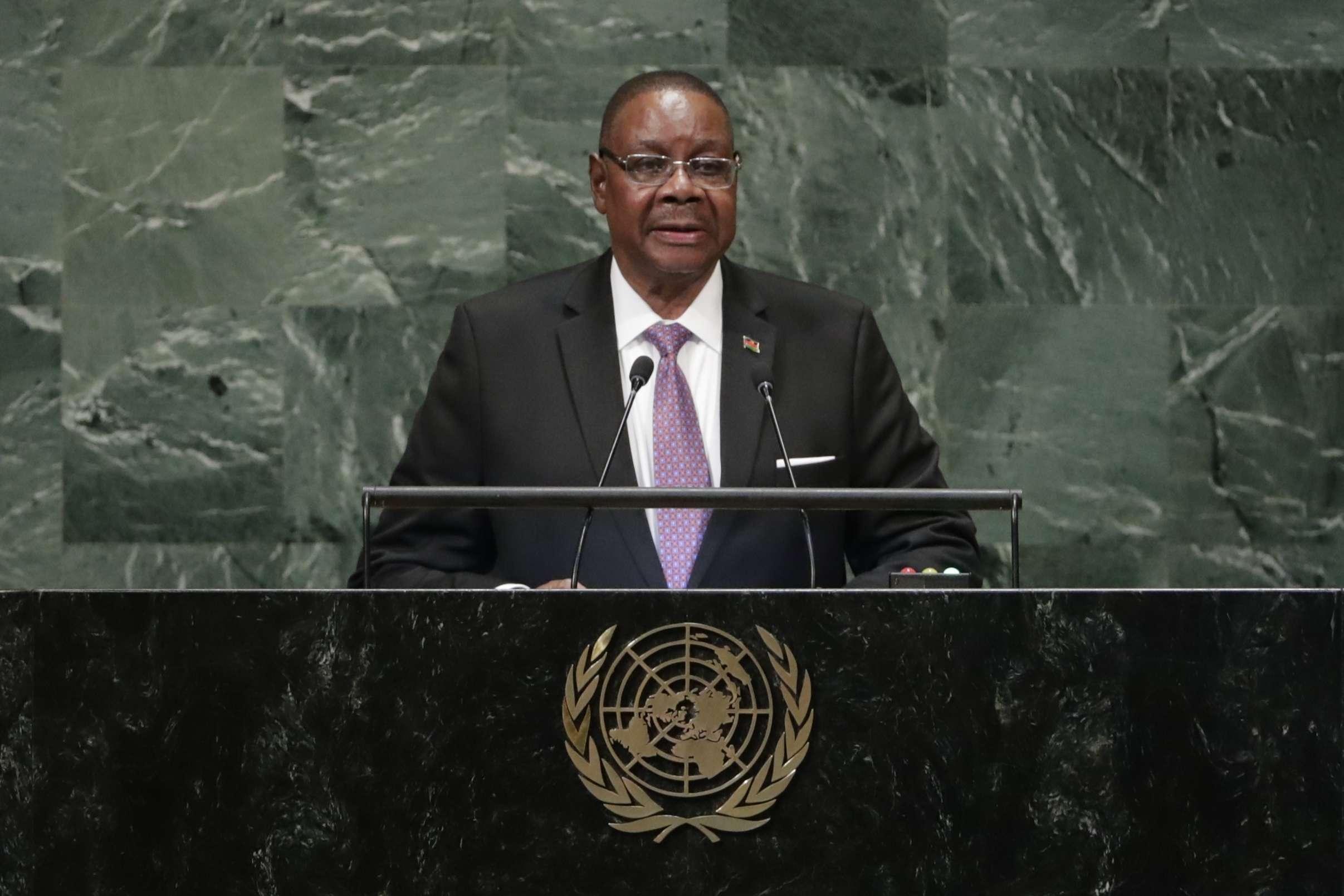 Le président du Malawi, Arthur Peter Mutharika, à la tribune de la 73e assemblée générale de l'ONU.