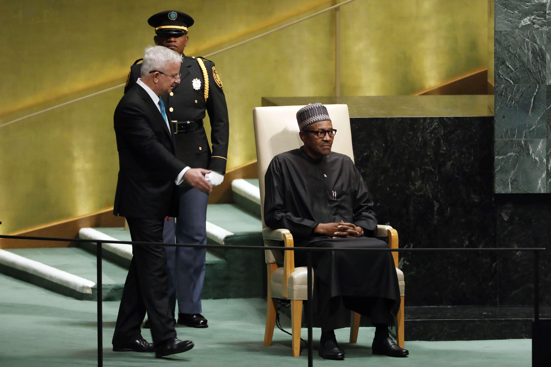 Muhammadu Buhari, président du Nigeria, le 25 setpembre 2018 à l'assemblée générale de l'ONU.