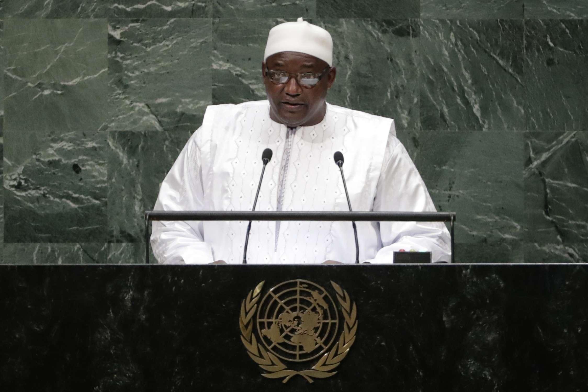 Adama Barrow, le président gambien, lors de sa prise de parole devant la 73e assemblée générale de l'ONU, à New York.
