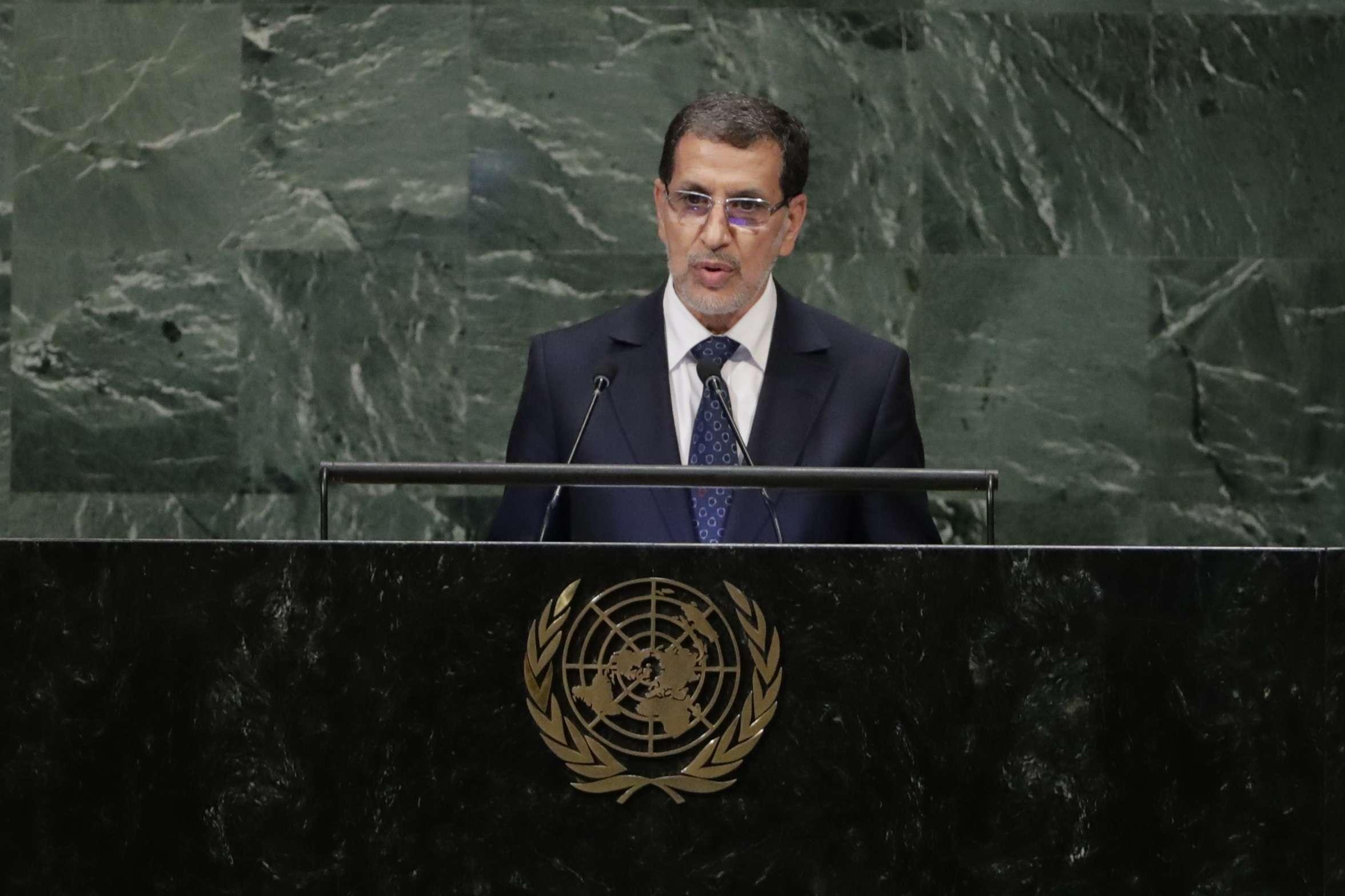 Saadeddine El Othmani, à l'ONU le 25 septembre 2018.