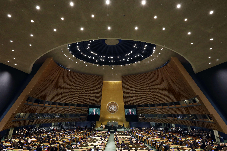 Lors de la 73ème session de l'Assemblée générale des Nations unies, au siège de New York , mercredi 26 septembre 2018.