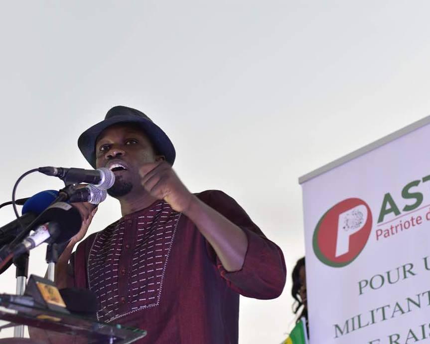 L'opposant Ousmane Sonko, lors d'un meeting du Pastef en août 2018.