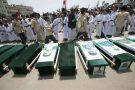 Funérailles de victimes d'un bombardement saoudien au Yémen, le 13 août 2018.