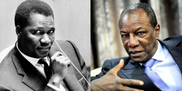 Ahmed Sékou Touré, aux Nations unies à New York en octobre 1960 ; Alpha Condé, au palais Sékoutoureya, en mai 2015.