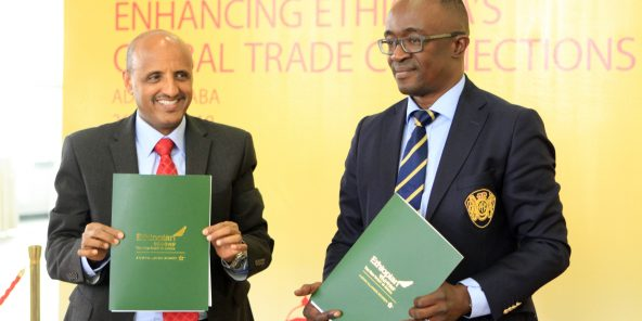 DHL Global Forwarding signs Joint Venture with Ethiopian AirlinesJPEG (2.48MB)Image - Tewolde GebreMariam, CEO, Ethiopian Airlines Group and Amadou Diallo, CEO, DHL Global Forwarding Middle East and Africa at the signing ceremony.