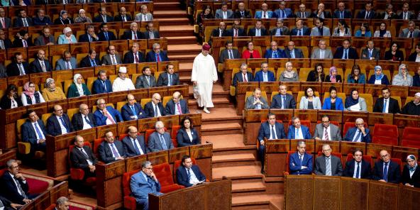 Une photo prise le 19 avril 2017 montre le Parlement lors d'une réunion publique conjointe consacrée à la présentation du programme du gouvernement par le Premier ministre du Maroc, nouvellement nommé, à Rabat (Maroc) le 19 avril 2017