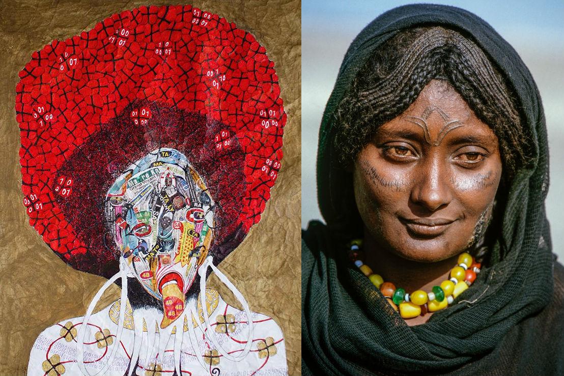 Angel in A, d'Ernest Dükü (gauche) et le portrait d'une éthiopienne, issue de la série de Carol Beckwith et Angela Fisher.