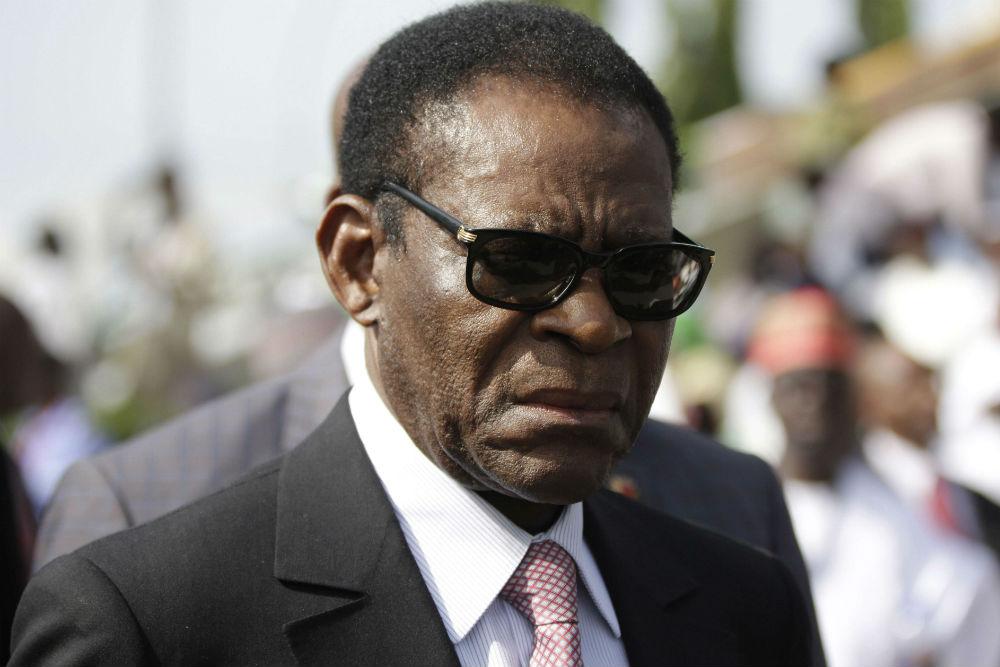Le président équato-guinéen, Teodoro Obiang Nguema Mbasogo, lors d'une visite au Nigeria, en 2015.