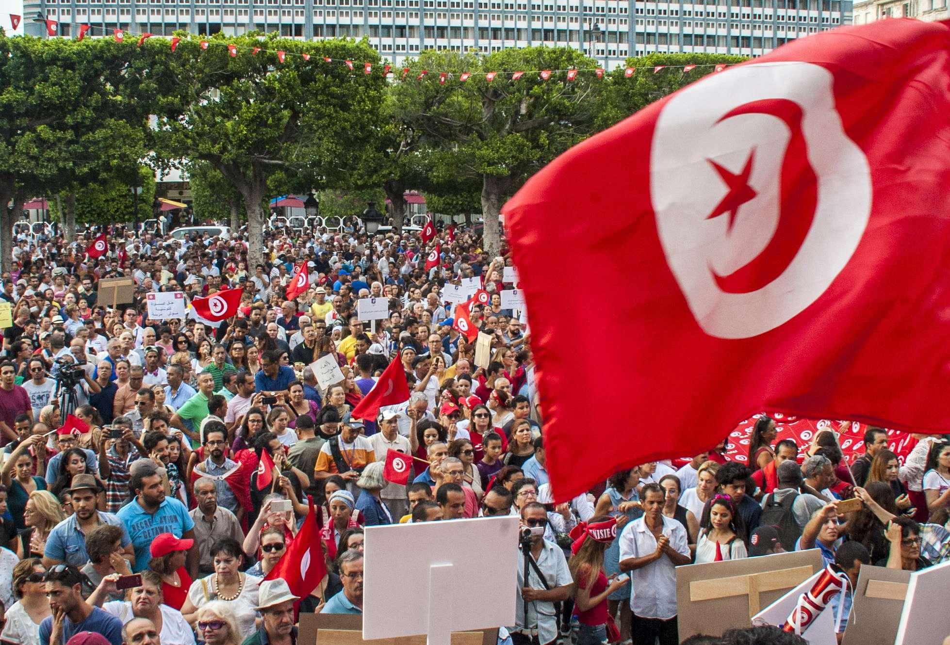 Une manifestation à Tunis pour l'égalité des droits, le lundi 13 août 2018.