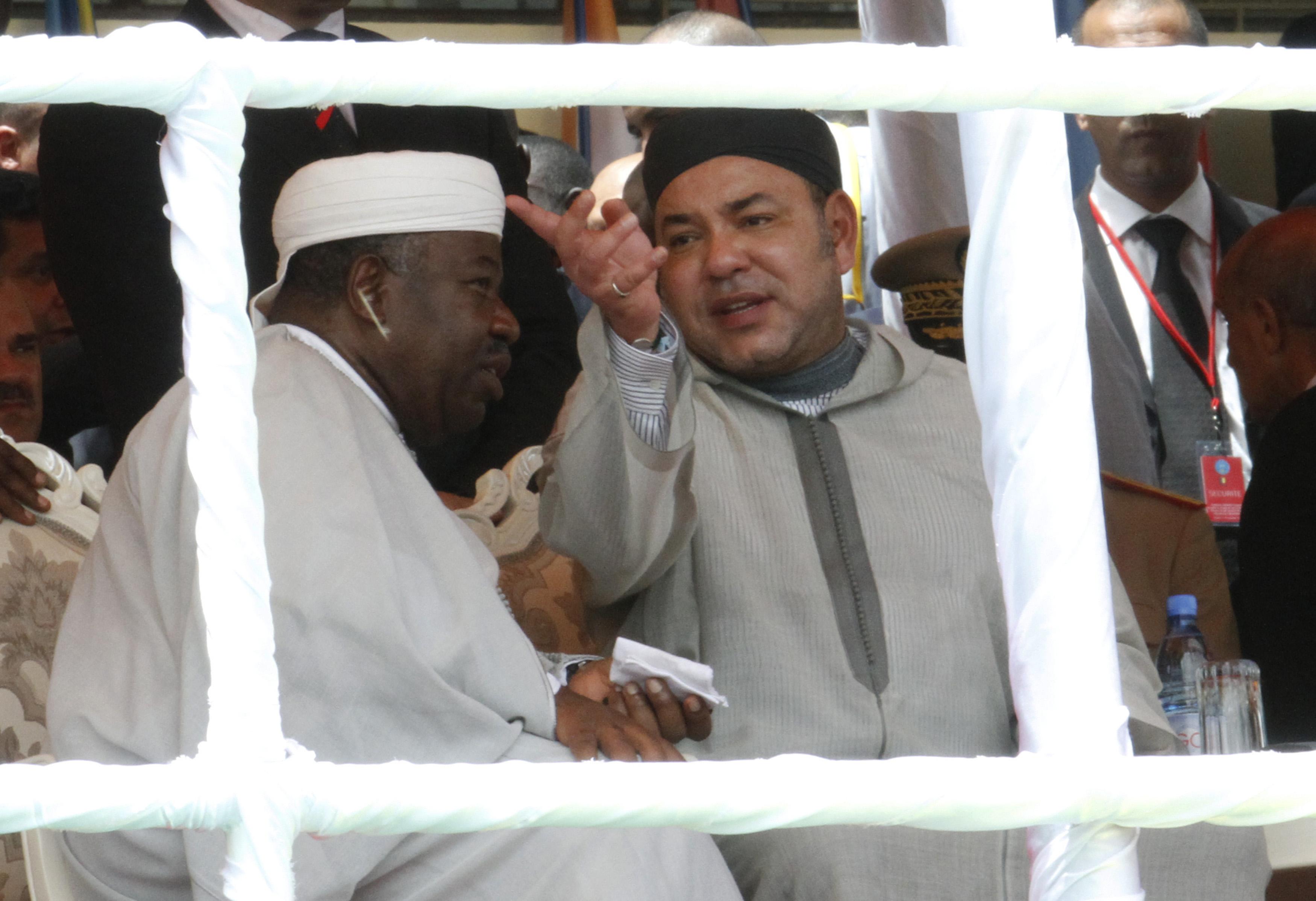 Ali Bongo Ondimba et Mohammed VI, lors de l'investiture d'Ibrahim Boubacar Keïta au Mali, en 2013.